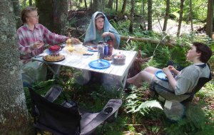 Celebrating our oldest daughter's birthday with a picnic and swim in the Rusalka Wood.