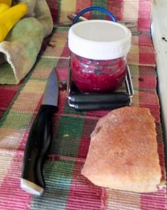 bread and cherry jam