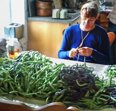 Daphne prepares a mountain of purple and green snap beans.