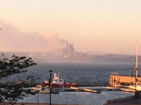 Today's photo of the Northern Pulp mill. Some days, the smoke is so thick you can't even see the mill. The current Liberal government of Nova Scotia could not care less. There's corporate rears to kiss, after all.